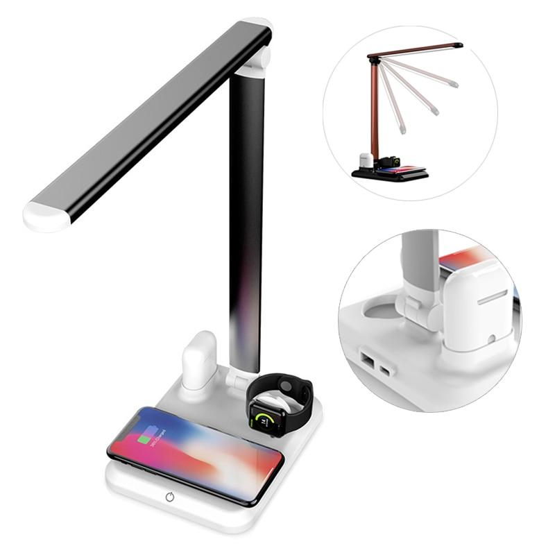 4 en 1 LED lampe de bureau de Table avec chargeur rapide sans fil pliable Protection des yeux lampe de lecture Pad support de chargeur de téléphone portable