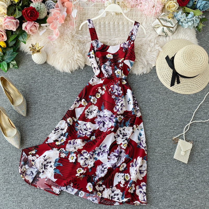 2020 Vintage Boho <font><b>Sexy</b></font> Spaghetti Strap Floral Print <font><b>Dress</b></font> Summer elegant <font><b>a</b></font>-<font><b>line</b></font> Party Midi Long <font><b>Dress</b></font> Women Backless Beach <font><b>Dress</b></font> image