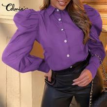 Blouses Long-Puff-Sleeve Celmia Purple Elegant Women Shirts Tops Tunic Blusas Party Casual