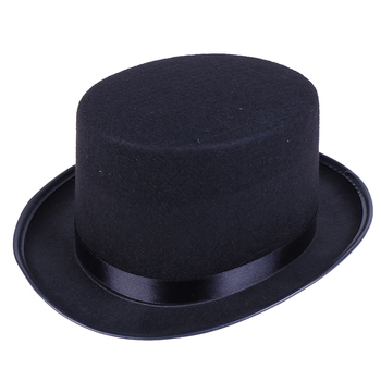 Black Top Hat Magician Hat Costume - Gentlemen Tuxedo Formal Headwear - Ringmaster Hat For Theatrical Plays Musicals image