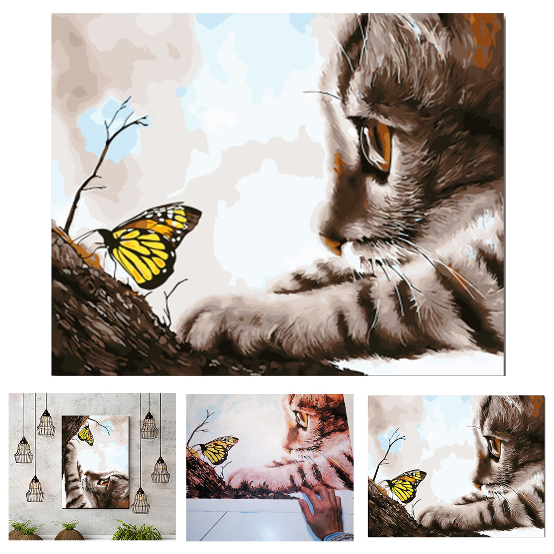 Home Decoration DIY Cat And Butterfly Animal 40x50cm 50x60cm Prints Wall Art Canvas Painting DIY Painting Wall Picture