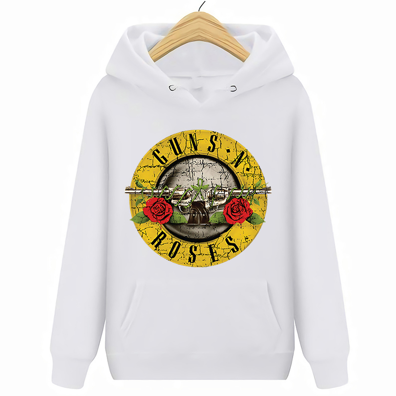Guns N Roses GNR Large Hoodie Band Bullet Logo Patch Official Black Pullover New