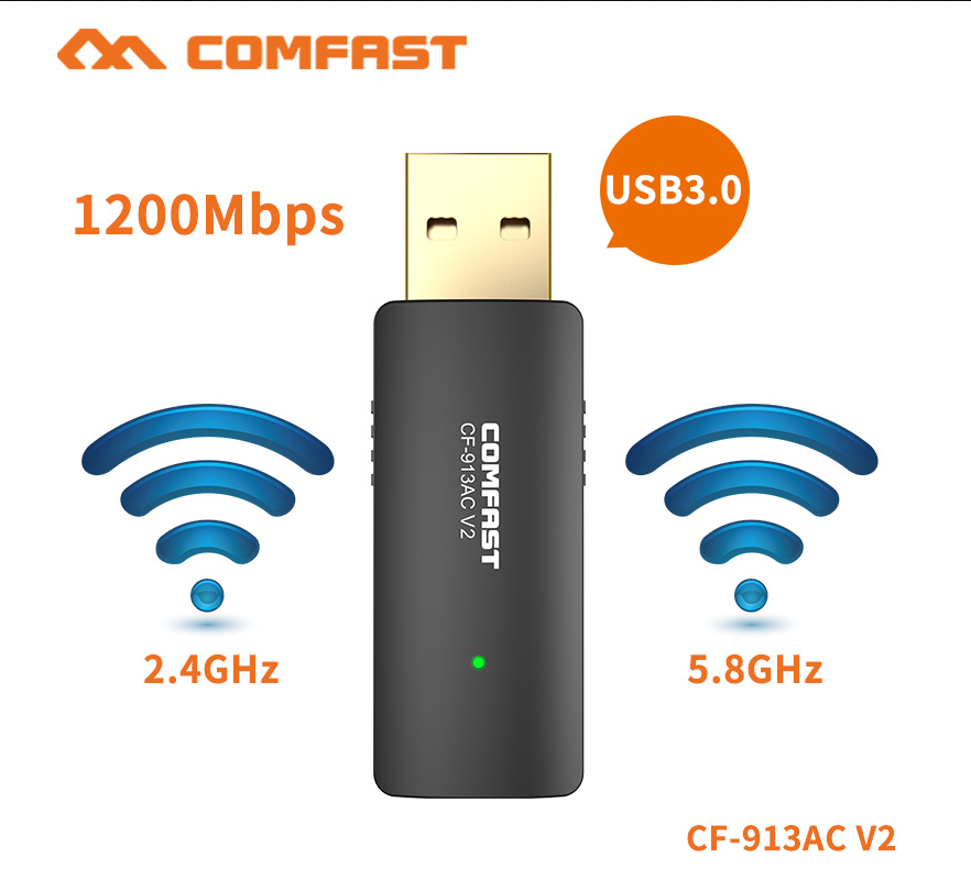 Comfast High Speed 1200Mbps Wireless Adapter USB3.0 2.4G&5.8G 11AC Dual Band WiFi Signal Extender Point Access CF-913AC-V2