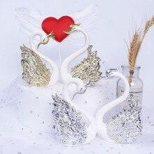 10cm novo cisne figura de ação com ouro/prata banhado cisne modelo figura brinquedo bolo decoração presentes para meninas