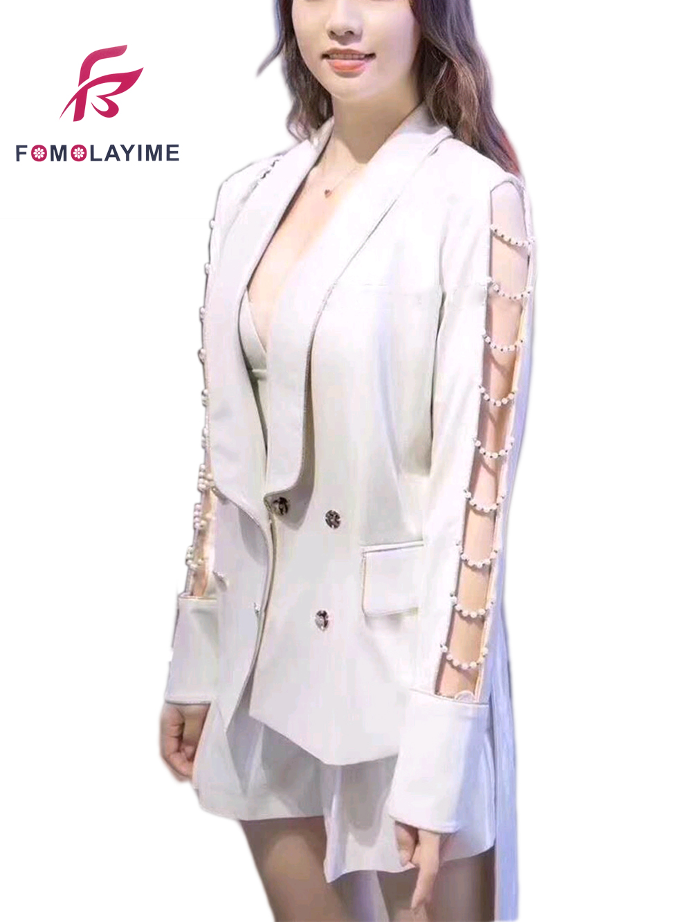2020 High Quality Women Blazers Hollow Sleeve Heavy Bead Double Breasted  Runway Blazer Coats