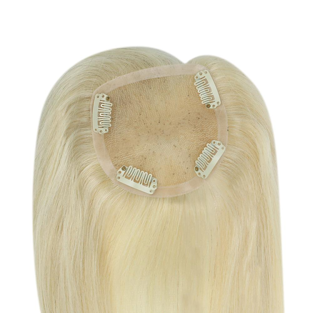 Full Shine Hair Topper 9.5*10cm Pure Color Machine Remy Toupee Blonde Human Hair Crown Invisible 7a Grade Hair Crown Extension