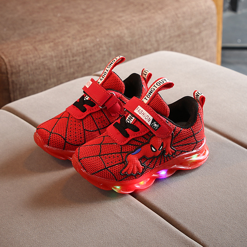 2020 New Spider man Lovely kids shoes cool LED lighted baby infant tennis hot sales girls boys shoes Leisure children sneakers
