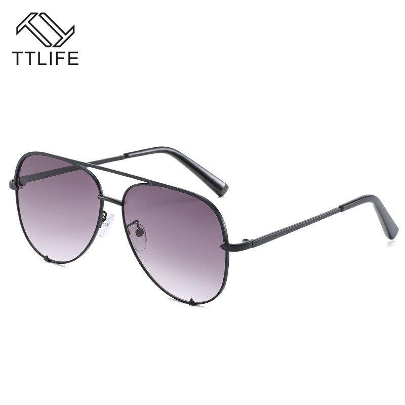 TTLIFE Vintage Lady Black Metal Frame Sunglasses Women Sun Glasses Ladies Oculos De Sol Feminino Round Eyewear Pilot YJHH0250