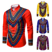 Mens Printed Shirt, National 3D Shirt Male, Lapel Long Sleeve Shirt,Shirt Male Men