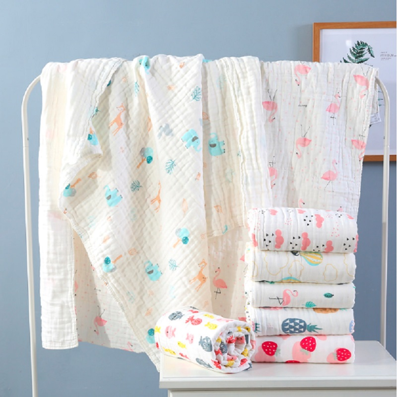110 110cm Muslin Swaddle Baby Blankets Swaddling 100 Cotton Swaddle Wrap Newborn Babies 6 Layer Bath Towel Kids Soft Blanket in Blanket Swaddling from Mother Kids