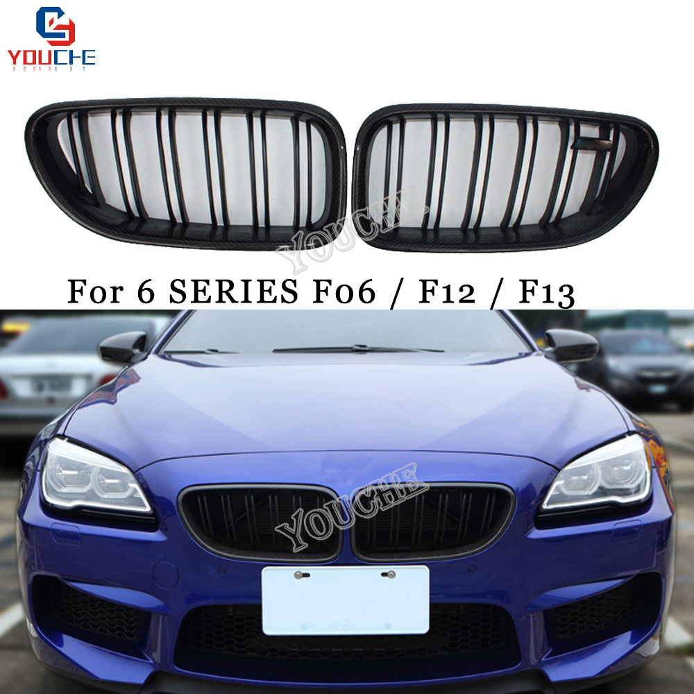 F06 Carbon Fiber Front Grille Double Line Slat Grill for BMW 6 Series F06 F12 F13 M6 Sedan Coupe Convertible 640i 650i 2012 + image