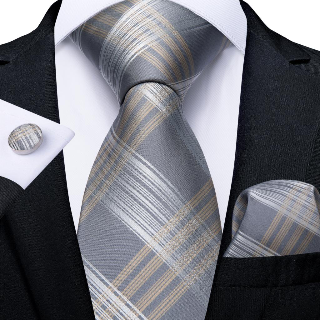 Men Tie Gold Silver Striped Wedding Tie For Men Hanky Cufflink Silk Men Tie Set DiBanGu Designer Party Business Fashion MJ-7254
