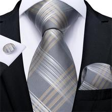 Men Tie Gold Silver Striped Wedding For Hanky Cufflink Silk Set DiBanGu Designer Party Business Fashion MJ-7254