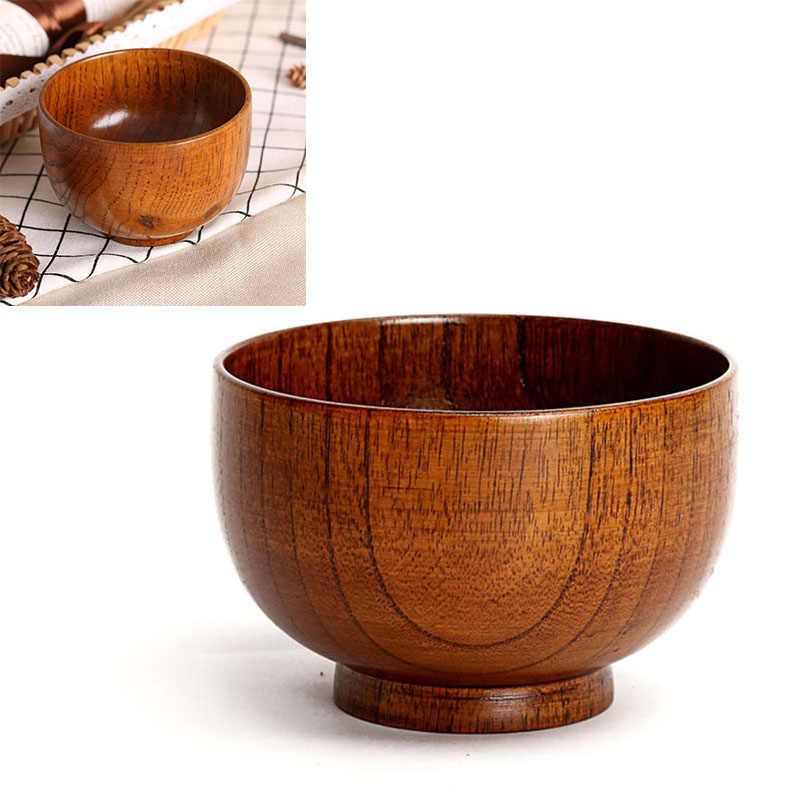 Japanse Stijl Houten Kom Soep/Salade Rijst Kommen Hittebestendig Hout Servies Handwerk Decoratie Creatieve Kokosnoot Kom