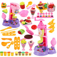 Plasticine Children Colored Clay Plasticene Mould Tool Kit Ice Cream Machine GIRL'S Modeling Clay Toy
