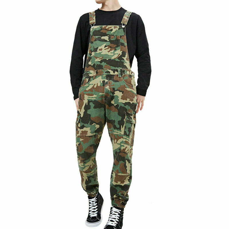 Stylish Mens Camo Dungarees Work Overalls Bib And Brace Distressed Denim Camouflage Combat Jumpsuit Romper Pants Casual Trousers