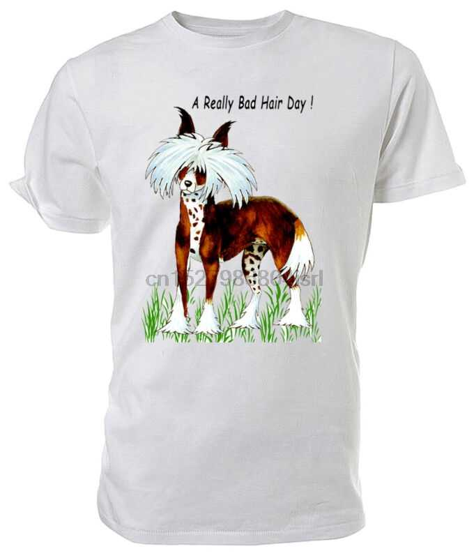 Chinese Crested Dog T shirt A Really Bad Hair Day  - Choice of size & colours