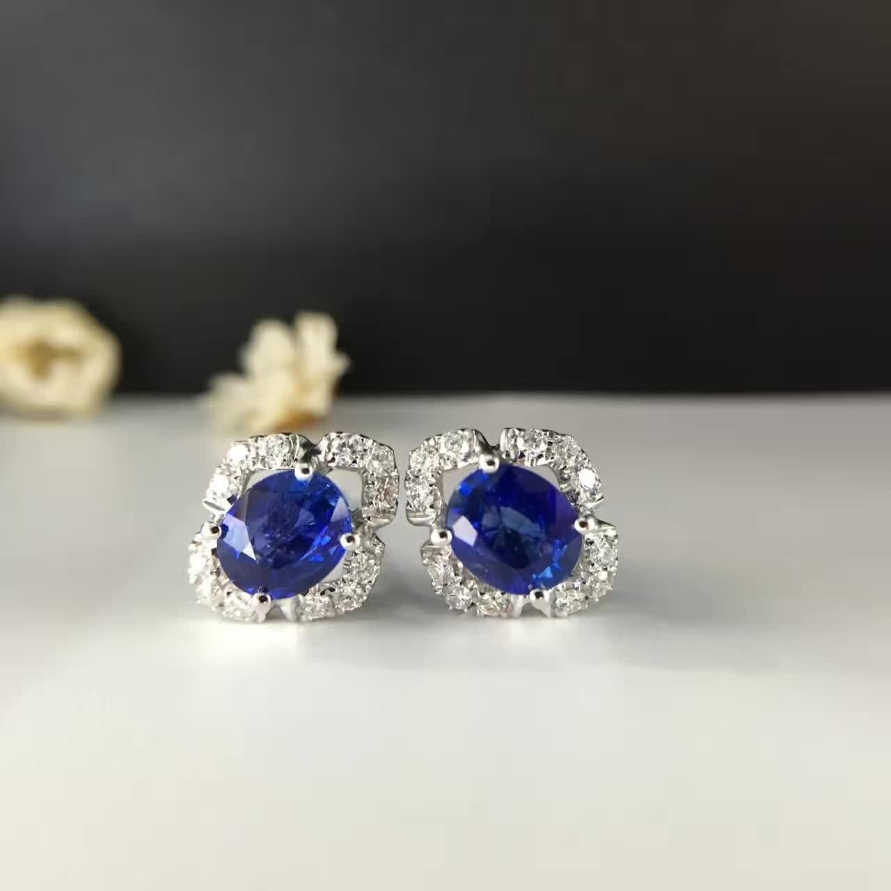 1.454ct + 0.244ct 18K or naturel saphir boucles d'oreilles pour les femmes diamant incrusté livraison gratuite
