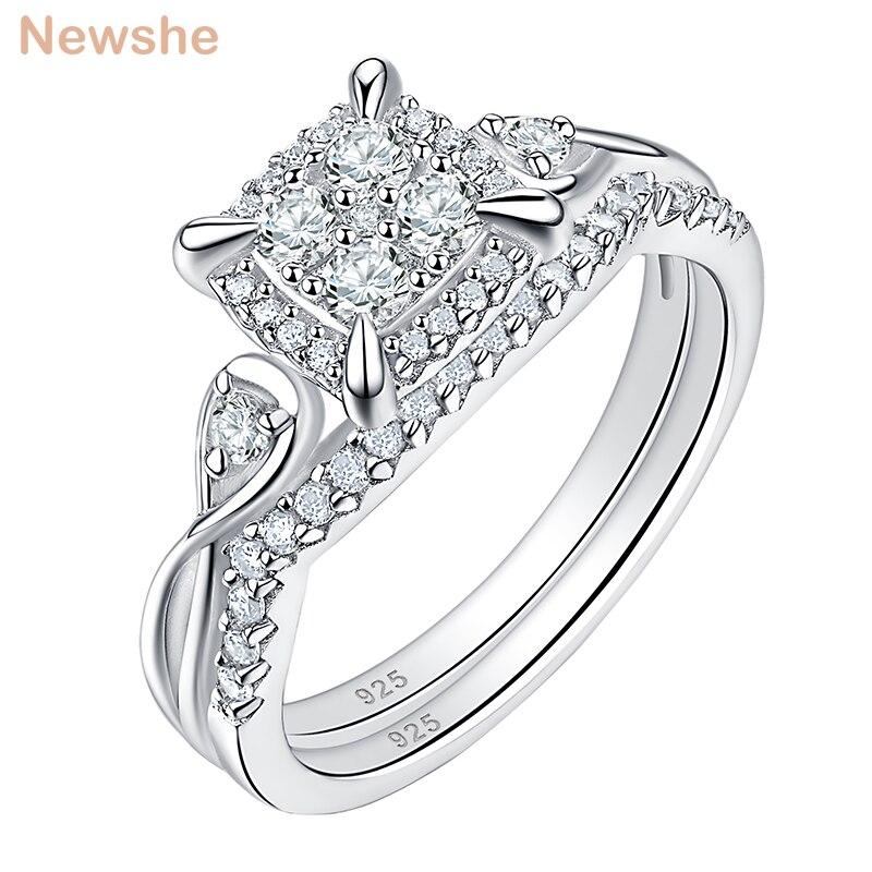 Newshe 2 pièces solide 925 en argent Sterling anneaux de mariage pour les femmes AAA cubique Zircons Unique ensemble de mariée classique bijoux BR0994