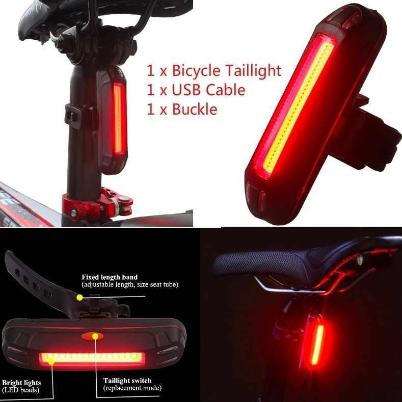 USB Rechargeable Bike Lights FRONT /& REAR Waterproof Hazard Light LED Red White