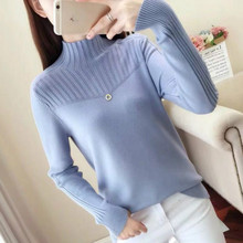 Autumn and Winter Half-high-collar SweatersPure-color Pullovers/Fashion Leisure Knitted Tops