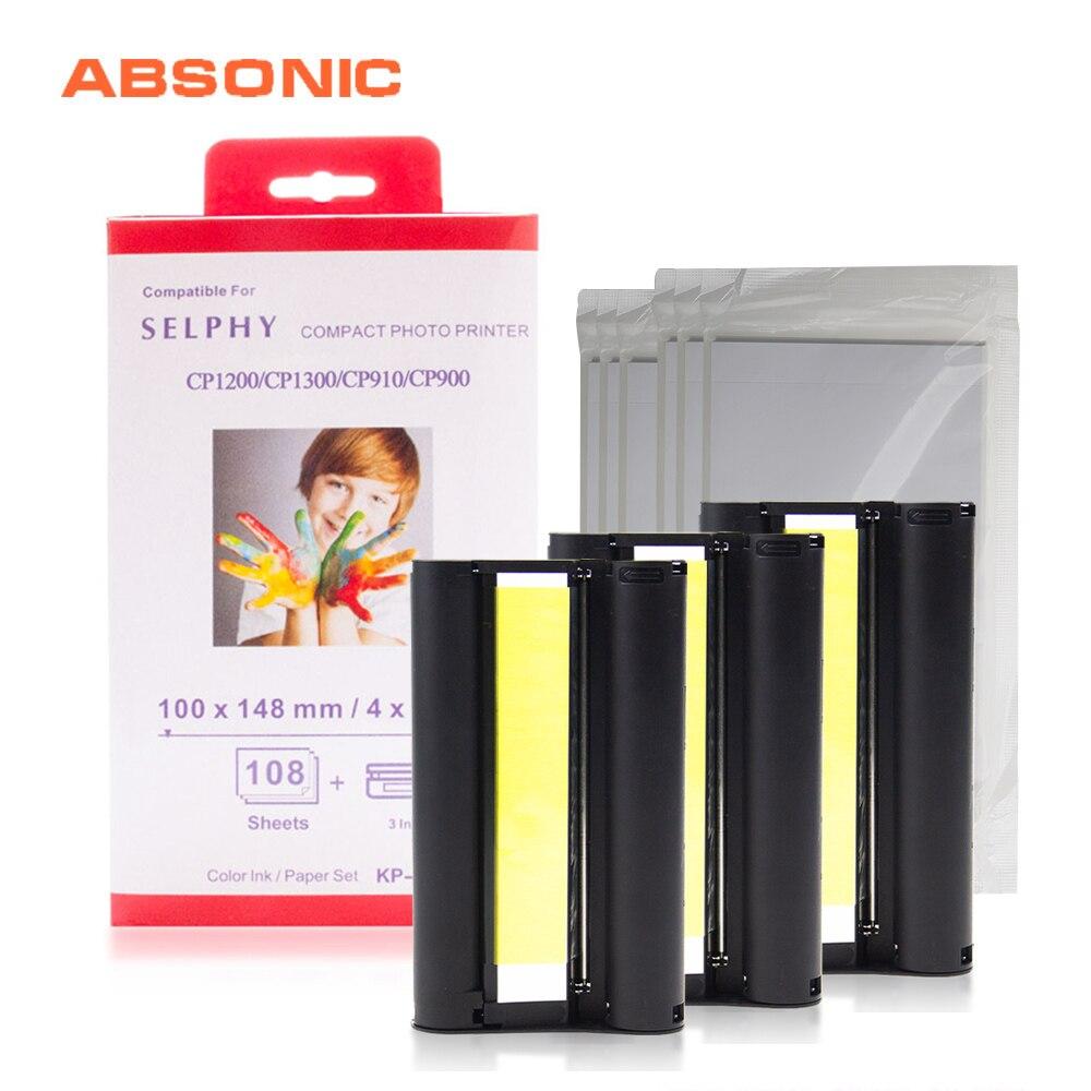 6 zoll Tinte Patrone CP1300 für Canon Selphy Drucker CP1200 CP910 CP900 3 Tinte Cartrdige + 108 Blatt Foto Papier KP-108IN KP-36IN