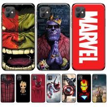 Marvel Avengers captain ironman thanos Black Cell Phone Case For iphone 4 4s 5 5s 5c se 6 6s 7 8 plus x xs xr 11 pro max pemberton max captain black