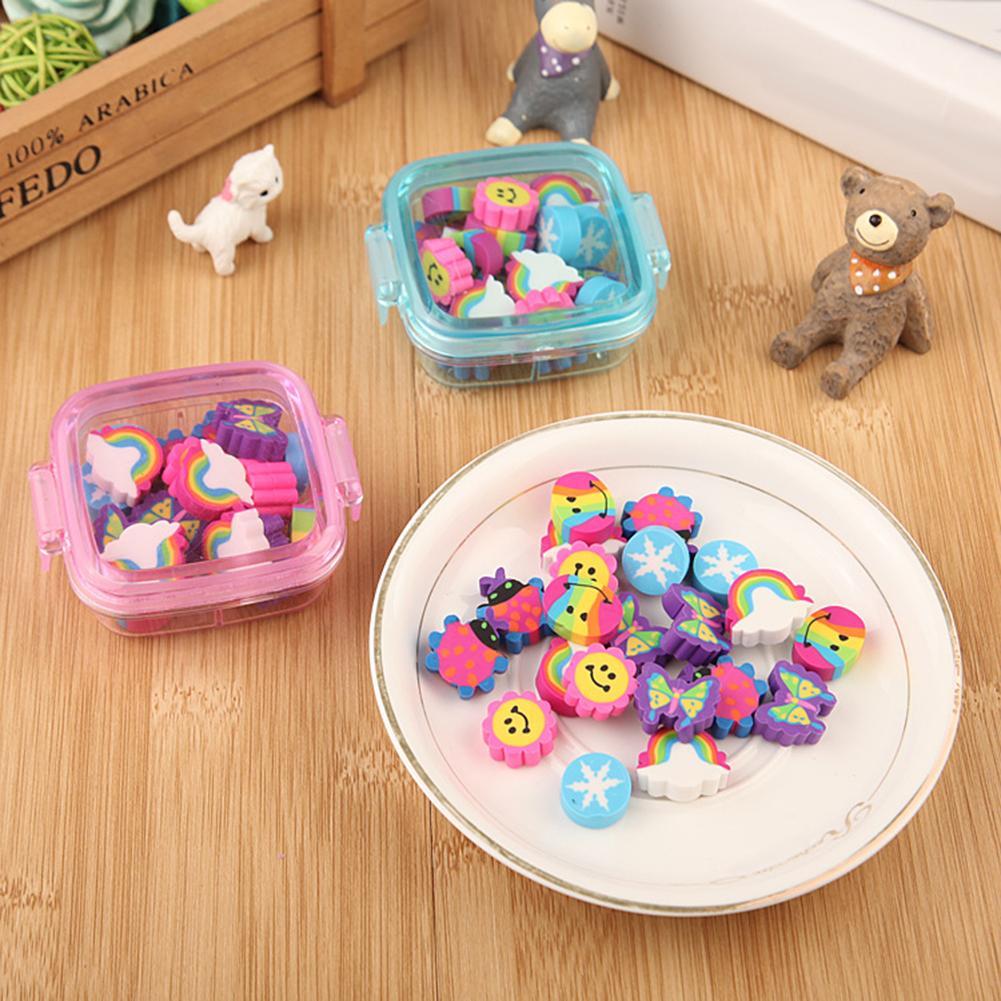 20Pcs/Box Cute Rainbow Butterfly Flower Rubber Eraser Kid Gift School Stationery