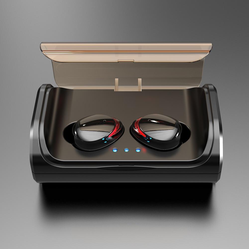 Auriculares T8 TWS, inalámbricos por Bluetooth 5,0, auriculares intrauditivos estéreo de graves profundos IPX7, Auriculares deportivos impermeables con caja de carga