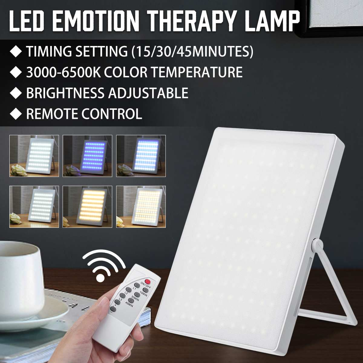 5V SAD LED Light Remote Control SAD LED Happy Light Phototherapy Therapy Lamp Seasonal Affective Disorder Relief Listless Tired