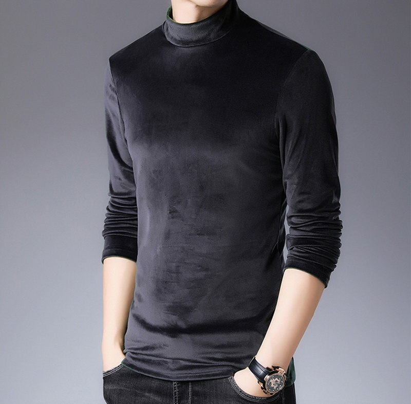 High-end new men's pullover casual fashion comfortable breathe colorfast pure color keep warm All-match soft cotton base shirt
