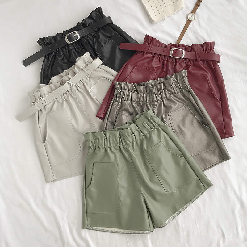 PU Leather Shorts For Women High Waist Sashes Wide Leg Shorts 2019 Spring Autumn Loose Elastic Waist Faux Leather Short Feminino