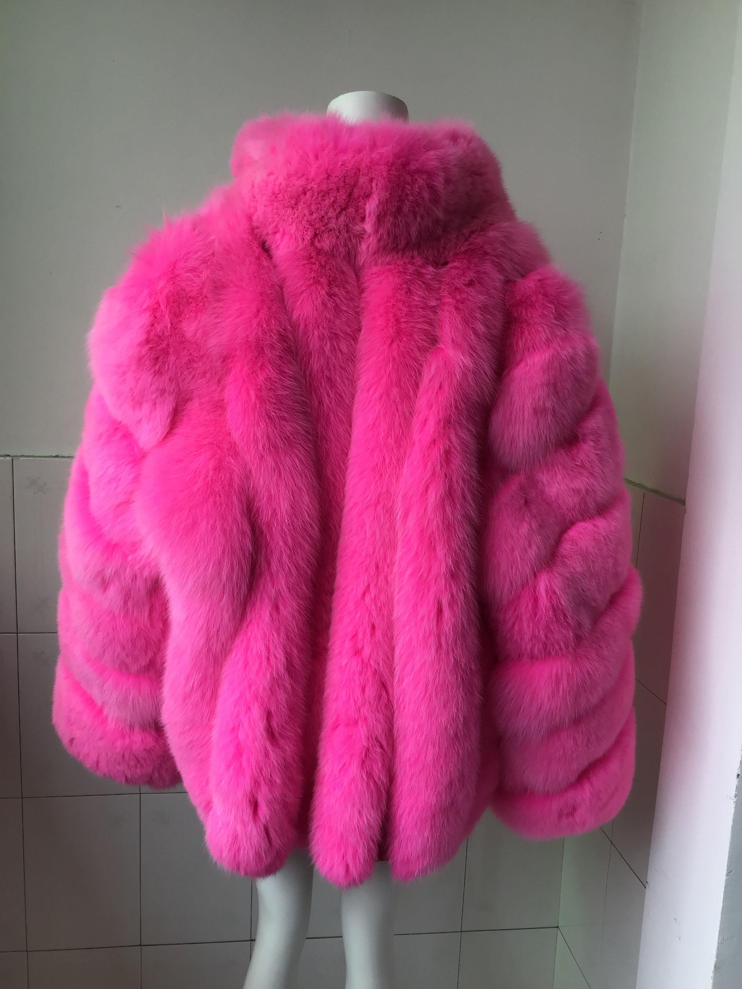 Hot Roze Vos Bont Verticale strepen patchwork lederen streep Grote Pak Kraag jas uitloper jacket winter parka plus size - 4