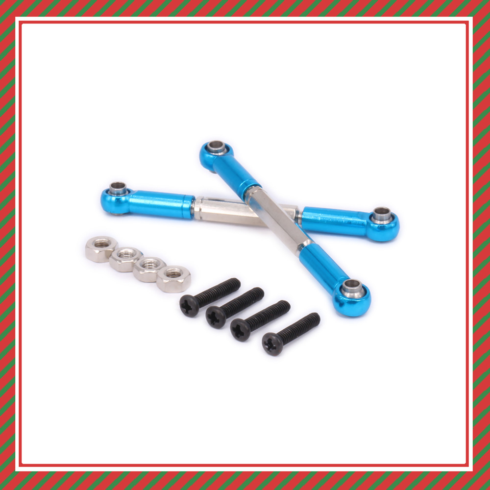 2PCS Alloy Adjustable Steering Tie Rod Servo Link For Rc Hobby Model Car 1-12 <font><b>Wltoys</b></font> <font><b>12428</b></font> 12423 0019 Toe Rod Upgraded Parts image