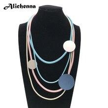 Круглое ожерелье из алюминиевого листа с кожаной веревкой, модное очаровательное женское ожерелье OL в стиле панк, подходит для свадеб и праздничных подарков