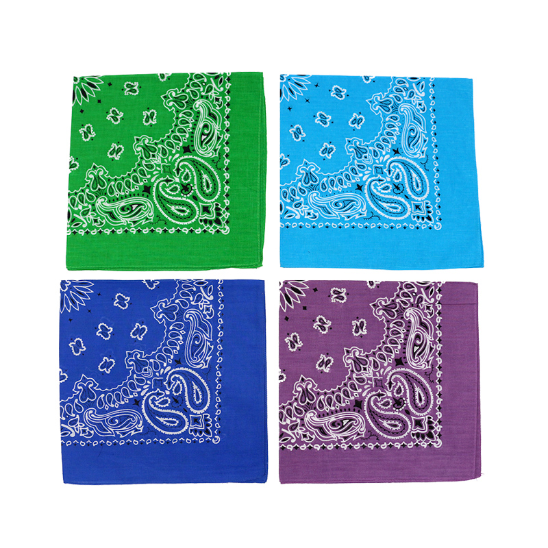 Hip-hop Men Bandana Scarf  Printed Paisley In Blue Green Purple Color Cotton Headband Handkerchiefs
