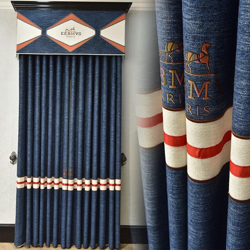 Custom curtains modern minimalist luxury blue high precision chenille thick cloth blackout curtain valance tulle panel C043