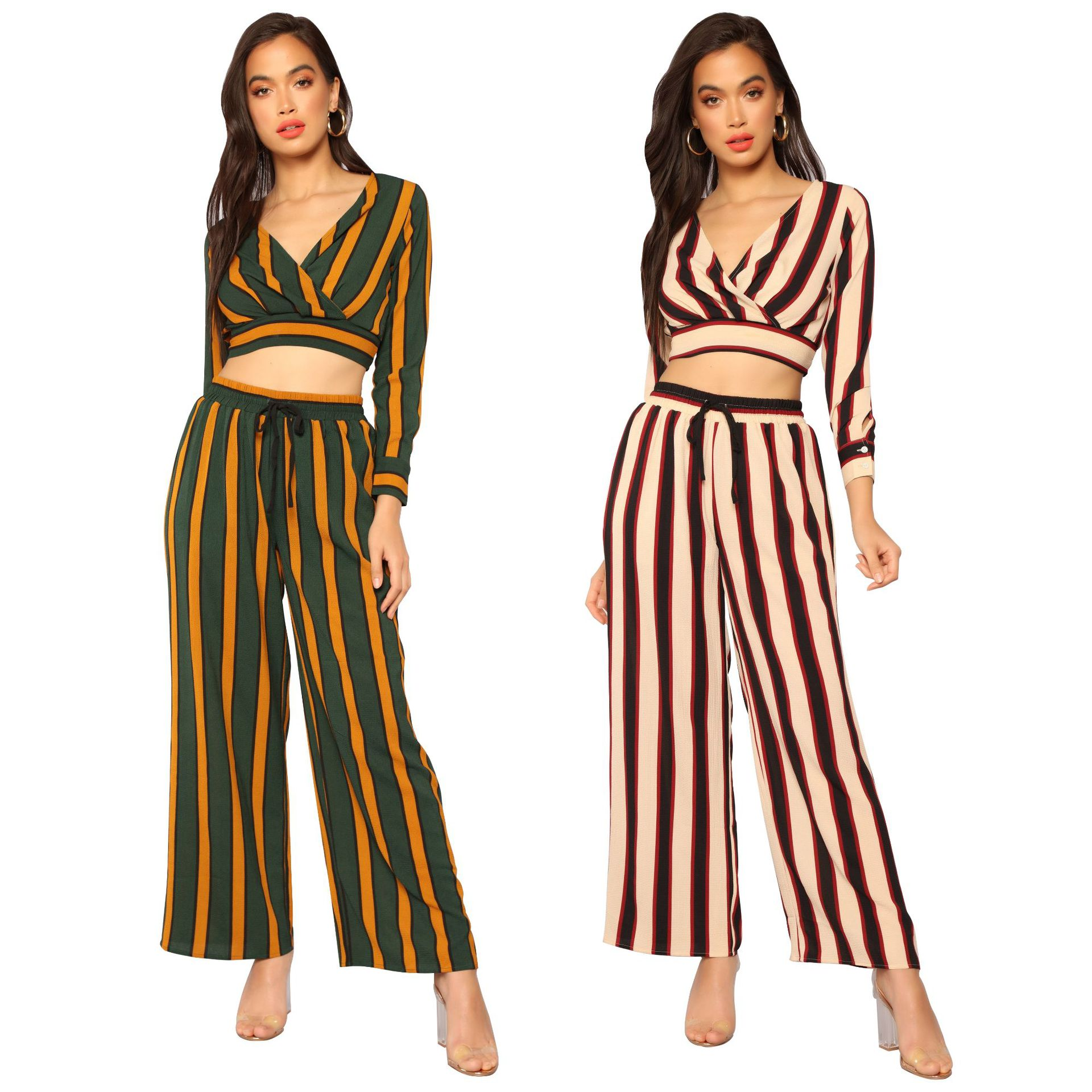 Wish Hot Selling Europe And America Fashion Women's Contrast Color Stripes V-neck Navel Tops Loose Pants Two-Piece Set