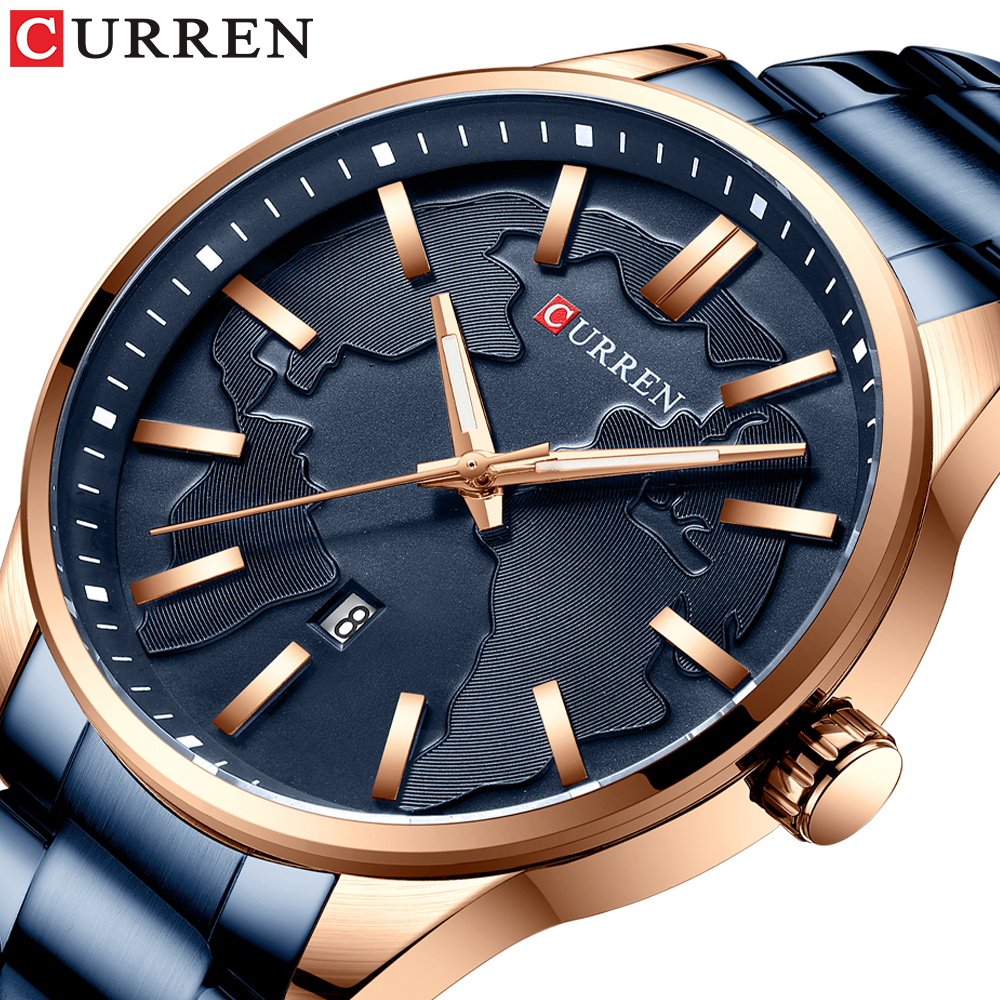 Fashion Brand CURREN Quartz Watches Men Dial Business Stainless Steel Band Waterproof Wristwatch Clock Male Relogio Masculino