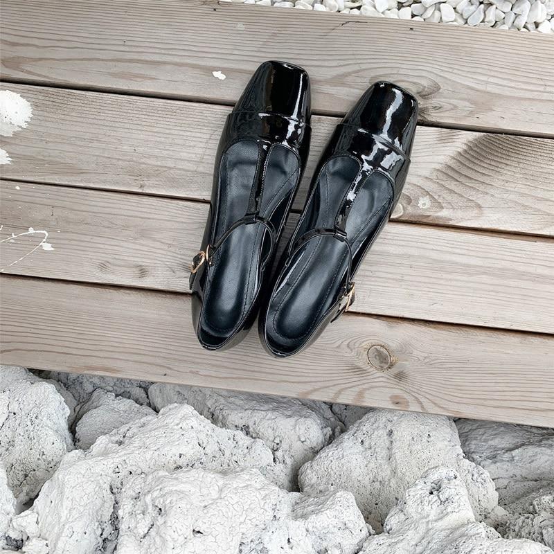 Egonnerie cuir naturel Mary Jane chaussures vin rouge en forme de T à lacets talons bas chaussures printemps mignon femme thé fête chaussures de danse lolita - 6