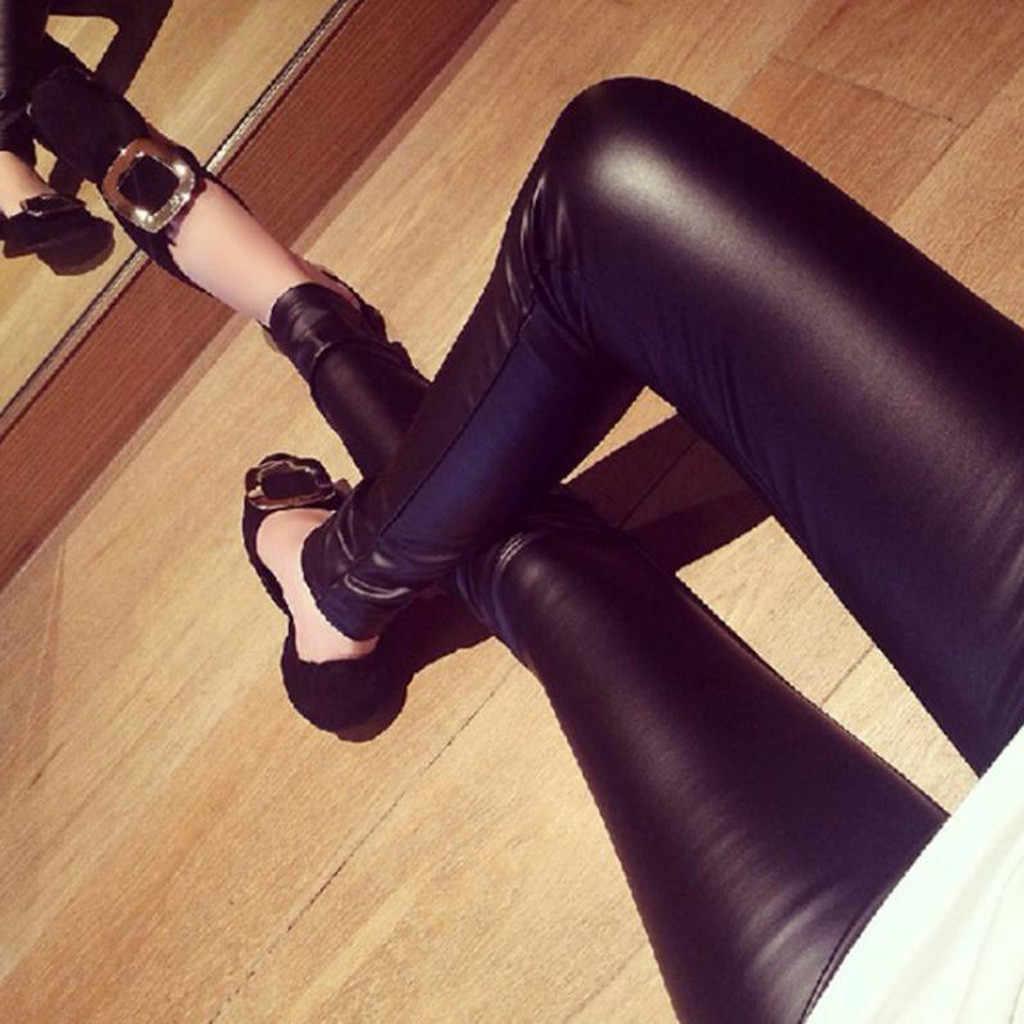 แฟชั่นผู้หญิงพลัสขนาดลำลองกางเกงหนังเซ็กซี่ Leggings กางเกง 2019 กางเกงขายาวเซ็กซี่สูงเอว #15
