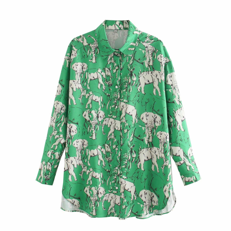 2020 Spring Summer New Additive Elephant green Print zaraing women blouse Shirt sheining vadiming female plus size Shirt XDN9427