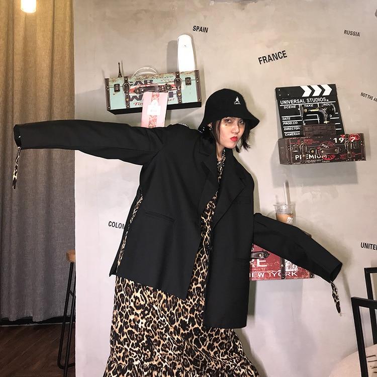 Casual Loose Ladies Blazer Stylish Black Retro Suit Jacket Long Sleeve Simple High Street Spring Women's Clothing New MM60NXZ