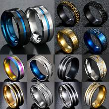 Men's fashion 8MM Black Brushed Ladder Edge Stainless Steel Ring Blue Groove Men Wedding Ring Gifts For Men