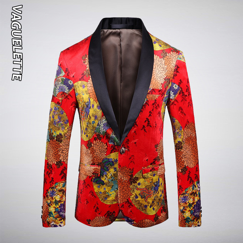 Vaguelette Chinese Styles Slim Fit Men Blazer Masculino Autumn Winter Casual Jacket Singer Host Stage Show Costumes M-5XL