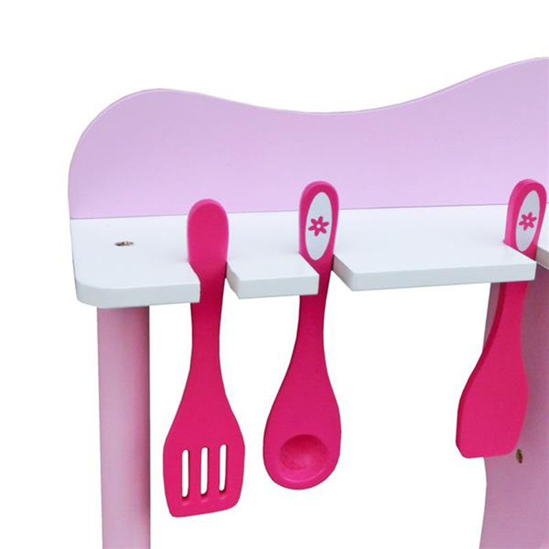 Розовый цвет дети ролевые игры деревянная кухня для девочек приготовления пищи игровой набор розовый моделирование косплей детские рождественские подарки - 2