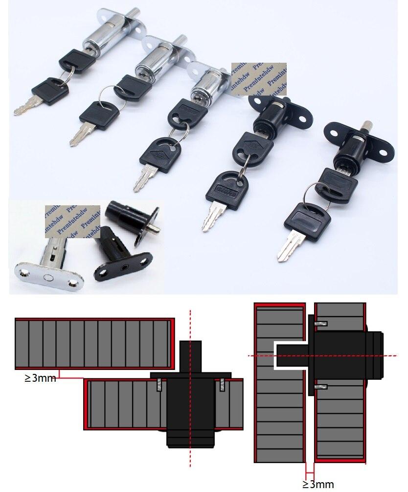 Verrou de verrouillage pour porte de bureau   Blanc, argent, tour de serrure de porte coulissante, en bois, avec 2 clés semblables/différentes, 10 pièces/lot