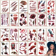 3PCS Halloween Vampire Scar Sticker Waterproof Tattoo Tattoos Fake Scars Bloody Costume Makeup Decor