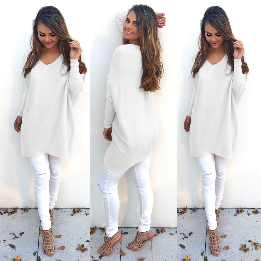 Women Fashion Autumn Winter Sweater Long Sweater Plus Size S-XXXL Oversized Thin Sweater V-neck Pullovers Female White Sweater
