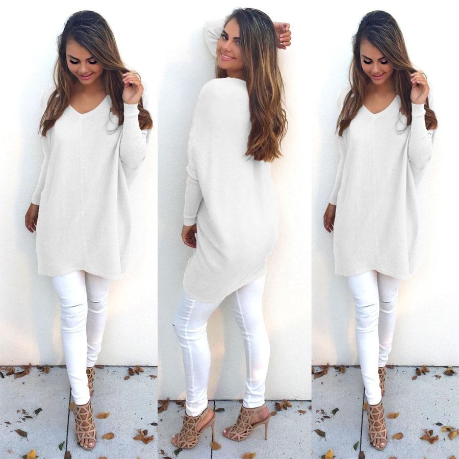 Women Fashion Autumn Winter Sweater Long Sweater Plus Size S-XXXL Oversized Thin Sweater V-neck Pullovers Female White Sweater